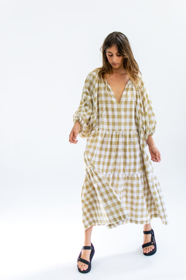 Tilly Maxi - Beige Gingham