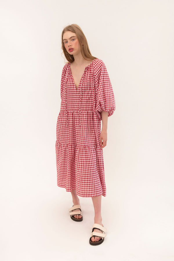 Tilly Maxi - Red Gingham - PREORDER