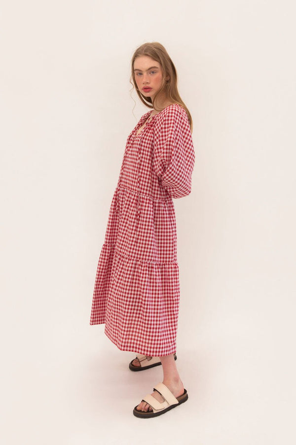 Tilly Maxi - Red Gingham