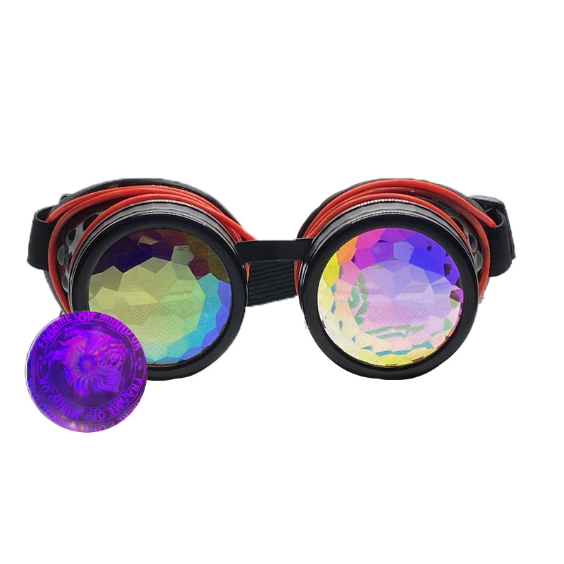 Neon Kaleido Goggles - Black w/ Red Light