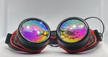 Load image into Gallery viewer, Neon Kaleido Goggles - Black w/ Red Light