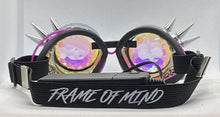 Load image into Gallery viewer, Neon Kaleido Goggles - Chrome Spike w/ Purple Light