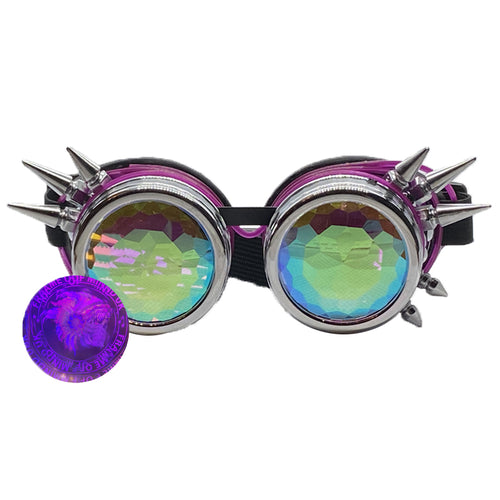 Neon Kaleido Goggles - Chrome Spike w/ Purple Light