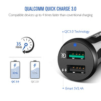 Ugreen Quick Charge 3.0 Dual USB Fast Car Charger