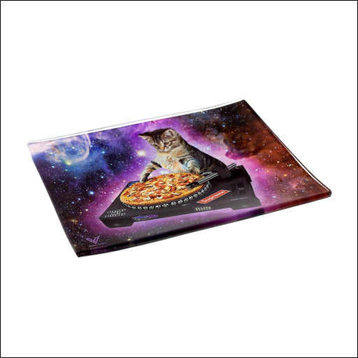 "GLASS ROLLING TRAY - SMALL - ASSORTED DESIGNS (6.5"" x 5"")"