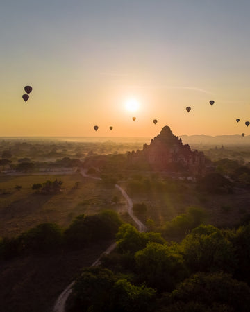 Bagan temple with hot air balloons in Myanmar