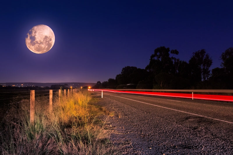 Full Moon on Country Road
