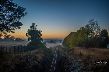 Misty Railway Sunrise