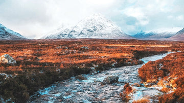 Snowy Peaks in Scottish Highlands