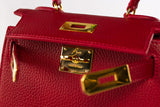 "EVA 8"" RIGID RED LEATHER GOLD"