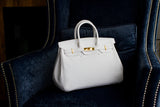 "CATY 14"" White Leather Gold"