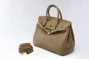 "CATY 12"" Taupe Leather Gold"