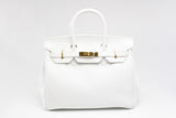 "CATY 12"" White Leather Gold"