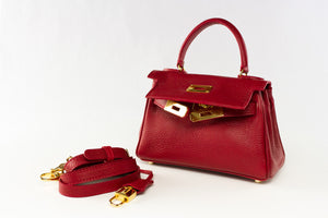 "EVA 8"" RED LEATHER GOLD"