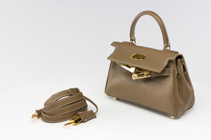 "EVA 8"" TAUPE LEATHER GOLD"
