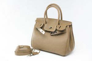 "CATY 10"" Taupe Leather"
