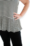 Striped Peplum Sleeveless Top