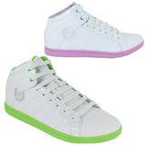 Ladies Ankle Girls HI High Tops Trainers Womens White Patent Boots Ankle Shoes