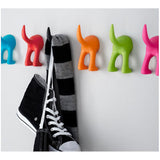 3 x BASTIS Dog Tail Rubber Wall Hooks Hangers Blue Red Black Orange Green Pink
