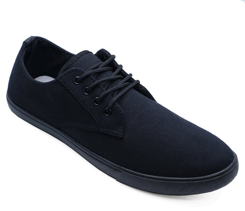 Mens Black Lace up Canvas Trainers Flat Pumps Casual Shoes Plimsoll Size 6-12