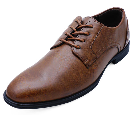 Mens Faux Leather Brown Lace up Office Formal Work Wedding Shoes UK 7-11
