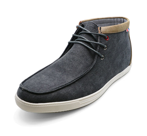 Mens Grey Canvas Smart Casual Lace-Up Ankle Desert Boots Shoes 6-11