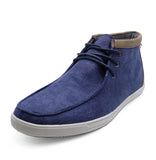 Mens Navy Canvas Smart Casual Lace-Up Ankle Desert Boots Shoes Size UK 6-10