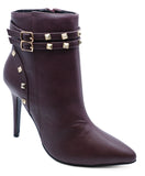 Ladies Burgundy Zip Up Stiletto Rock-Chick Stud Ankle Calf Boots Shoes Sizes 3-8