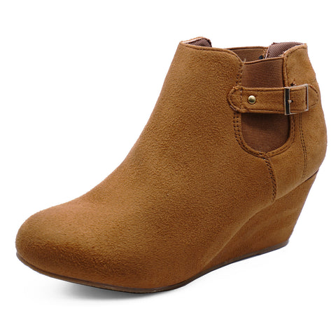 Ladies Tan Wedge Pull On Chelsea Ankle Boots Comfy Casual Slip Shoes Sizes 3-9