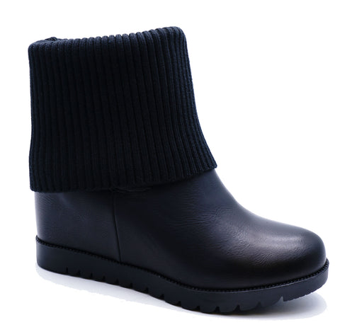 Ladies Black Wedge Pull-On Ankle Platform Fold-Down Calf Biker Boots Shoes 3-8
