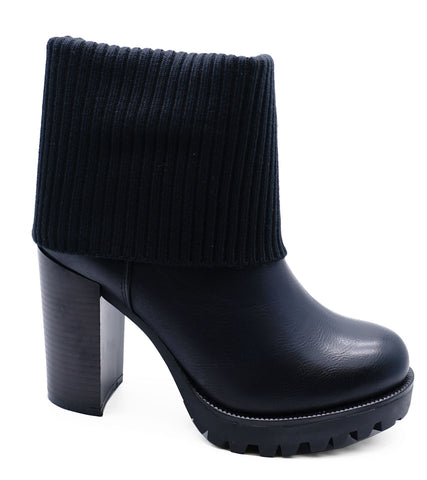 Ladies Black Pull-On Ankle Biker Calf Platform Fold-Down Block Boots Shoes 3-8