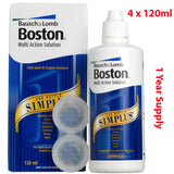 4 x 120ML Bausch & Lomb Boston Simplus Contact Lens Solution SEALED 480ML PACK