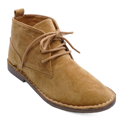 Boys Kids Desert Dealer Lace Up Smart Casual Ankle Tan Boots Shoes Sizes 6-13