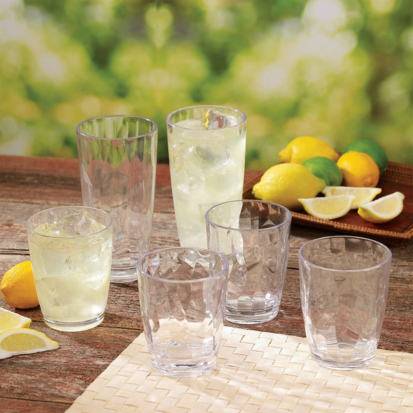 12 Piece Tritan Clear Crystal Cut Acrylic Drinkware Set