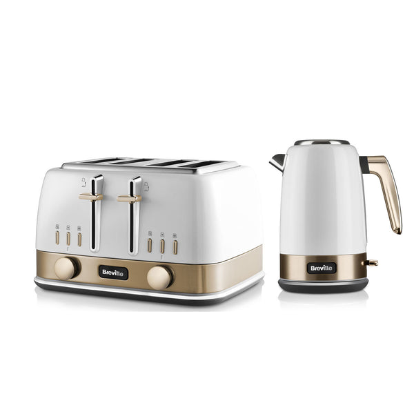 New York Style 4 Slot Toaster & 1.7L Capacity Kettle Set In White & Gold
