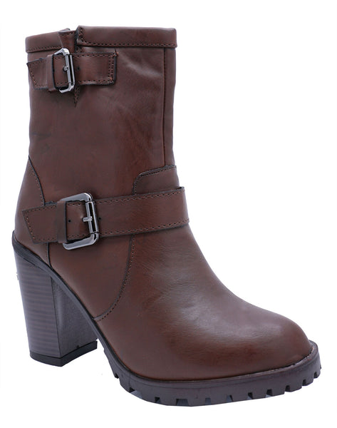 Ladies Brown Platform Ankle Calf Smart Zip-Up Casual Work Boots Shoes Sizes 3-8