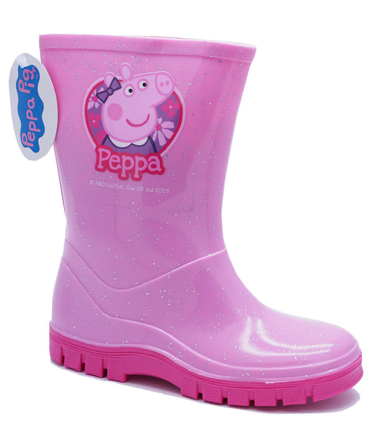 Girls Peppa Pig Pink Wellies School Infant Rain Splash Wellington Boots UK 4-10