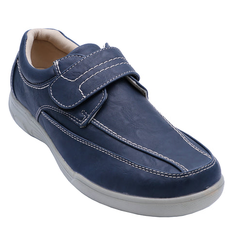 Mens Navy Comfy Lightweight Smart Casual Loafers Touch Strap Deck Shoes 6-12