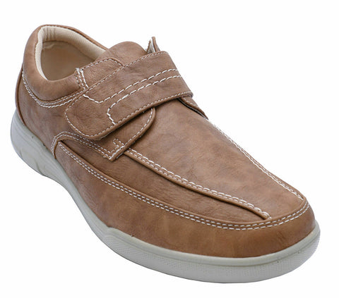 Mens Tan Comfy Lightweight Smart Casual Loafers Touch Strap Deck Shoes 6-12