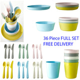 IKEA Children's Kids Plastic Bowls Cups Plates Cutlery Dinner Set Microwave Dish