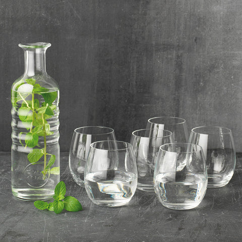 Ultra-Clear Crystal Ki Luigi Bormioli Hydrosommelier Bottle & 6 Pcs Tumbler Set