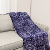 Life Comfort Purple Plush Throw Sofa Blanket Medallion Oversized 152 X 177 cm