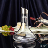 Elegantly Handcrafted Crystalline Wine Decanter With Stainless Steel Aerator