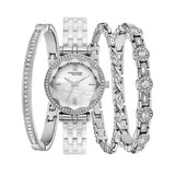 Ideal Ladies New York Swarovski Crystal Accented Silver Tone Quartz Watch Set