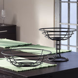 Perfect Classic Steel Mesa 2-Tier Stacking Fruit Basket In Black