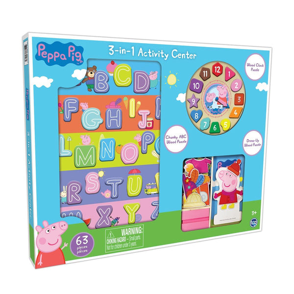 63 Pieces 3-In-1 Wooden Children's Activity Peppa Pig Or Paw Patrol Set (3+ Years)