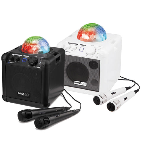 Perfect Portable Rockjam Go Lightshow Bluetooth Rechargeable Karaoke Speaker In Black and White