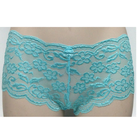 2 x Ladies Lingerie Seduction Knickers Lace Underwear Turquoise Size 12-14