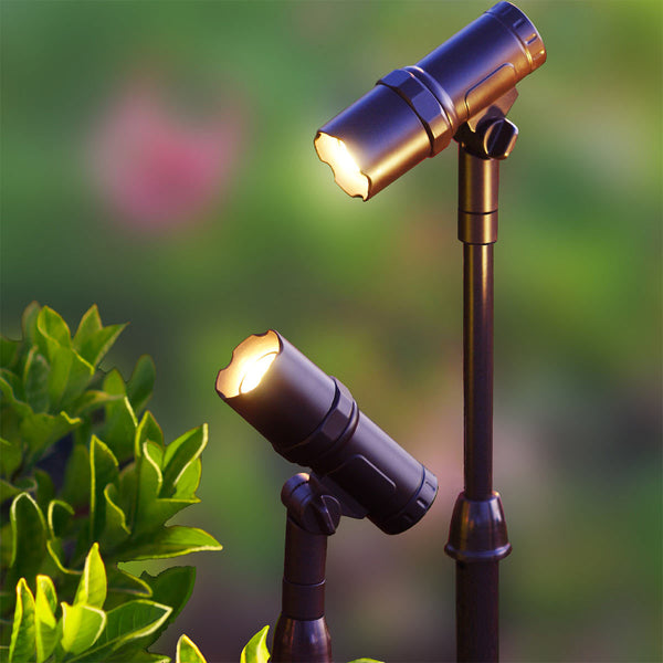 LED Solar Spotlights Adjustable Height Focus Smart Garden Lights 2-Pack