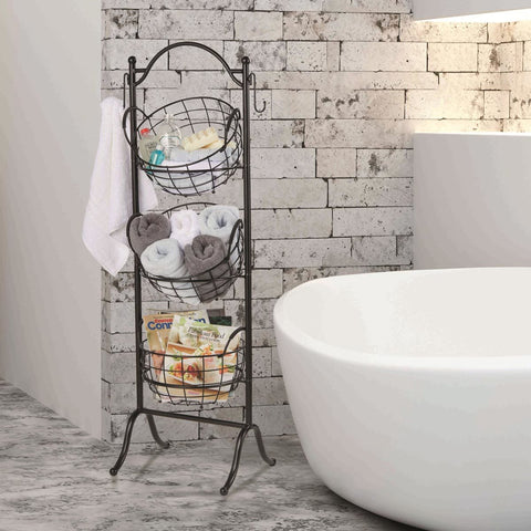 Strong Frame Large 3 Tier Storage Baskets with Stand Kitchen Bath